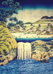waterfall lake river ocean blue ancient japan trees forest mountains sky green yellow