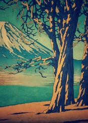 mountain blue sunset autumn orange trees lake shore japan asian exotic oriental