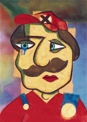 super mario nintendo gamer game bros luigi picasso painting art handmade crying mustache pablo red blue atinum