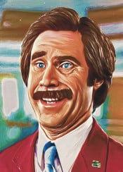 anchor man will ferrell actor movie tv famouse funny lol haha mustache burgundy ron atinum art collection painting