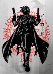 alucard vampire slayer kill slay hell sing hellsing anime manga crimson japanese japan devil blood ink inking fanfreak fan art watercolour color boots coat cape strong hero villian cool vintage killer hair beut male character 90s movie tv series season