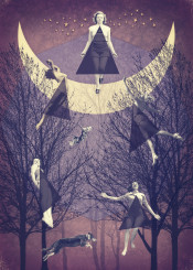 flight vintage retro collage witches stars moon fly night trees purple textured inspirational triangles conceptual