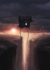 floating house sunset cliff hill birds clouds strange light