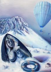 hotairballon girl boat snow mountain shipwreck
