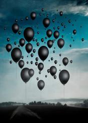 surreal balloons black cyan landscape misty dark mood
