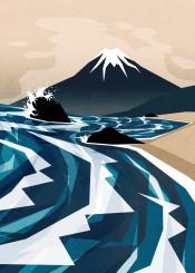 ocean waves japan beach mountain sea