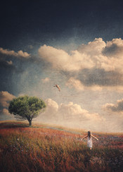 bird girl tree clouds field dreamy secret place curvy grundgy texture