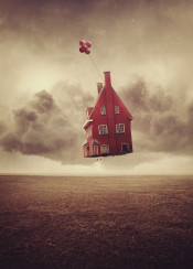 house floating balloons surreal ground cloudy stormy dreamy