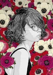 nature flowers poppies girl sketch drawing digitalart floral pattern red woman lines