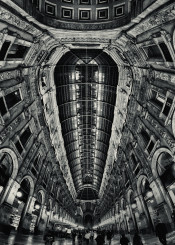 milan gallery building roof fisheye architecture italy ancient windows arc arches glass people walk walking vertical
