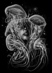 jellyfish portrait space stars galaxy nature blackandwhite