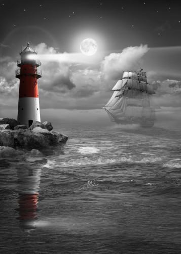 At night on the sea with saili... by Monika Jüngling ...