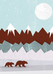 bear bears winter snow mountain nature landscape frozen freeze animal animals cute blue moon