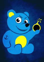 bear cartoon teddy teddybear smile bomb naughty nasty blue animal