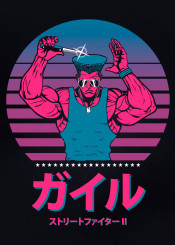 guile street fighter 80s neon