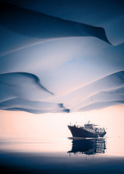 boat desert surreal