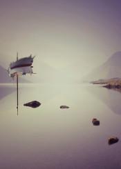boat surreal lake