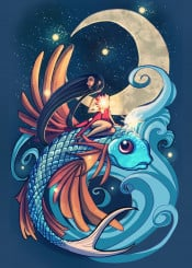 fish festival nature magical mystic moon fantasy fireworks stars sky night original unique originalart conceptual flying illustration vibrant colorful decorative girl tattoo moonlight bright water beautiful indie digital digitalart creature character rider blue orange yellow whimsy whimsical surreal party longhair nice cool special