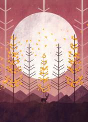 deer animal forest sun nature pine trees mountain autumn season vector whimsical art digital illustration sunset