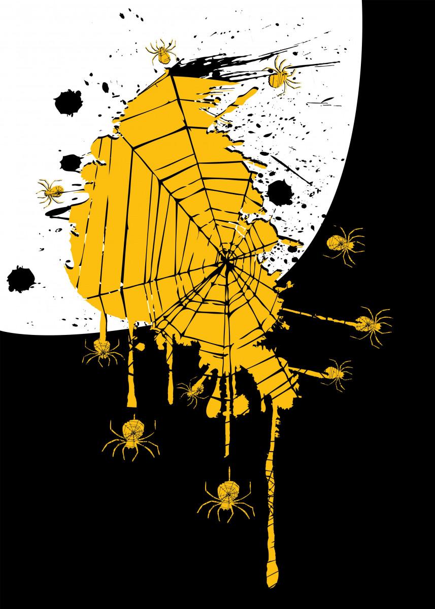 Spiders spider webs ink splash Halloween art kart 221297