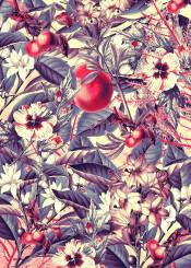 flora flower flowers apple fruits pattern vintage nature