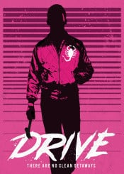 drive silhouette minimalist movie film cinema classic pink car ryan gosling illustration graphic