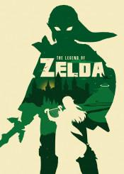 green geek zelda silhouette room decor video game computer illustration