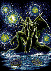 cthulhu lovecraft horror starry night