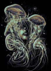 space cosmic jellyfish galaxy stars portrait face female