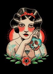 snowwhite princess apple witch tattoo classic american