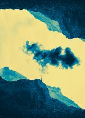 surreal reflected rocks mountasins landscape yellow green smoke cloud photomanipulation figure solitude
