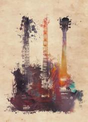 guitars music instrument instruments art watercolor decoration