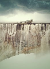 boat waterfall falling surreal cloudy stormy