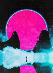 scifi fantasy retro 80s blue pink grid neon clouds human