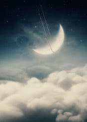moon newmoon swinging clouds above stars rope dreamy