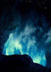 blue photomanipulation rocks solitude stars sky mood glow clouds space night
