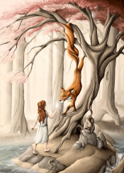 nature forest red fox tree lake redhead