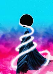 scifi fantasy pink blue sphere geometrical magical mystical space stars galaxy