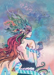 mermaid woman sea ocean whale psychedelic fantasy mythical colorful colourful coral nature lady trippy