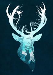 dverissimo designstudio silhouette animal reindeer deer christmas snow winter season trees forest bird textured blue illustration digitalart