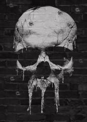 skull graffiti antihero paint bullet shot gun wall mercenary merc punish