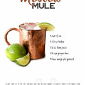 Cocktail - Moscow Mule with the ingredient list and a quote.