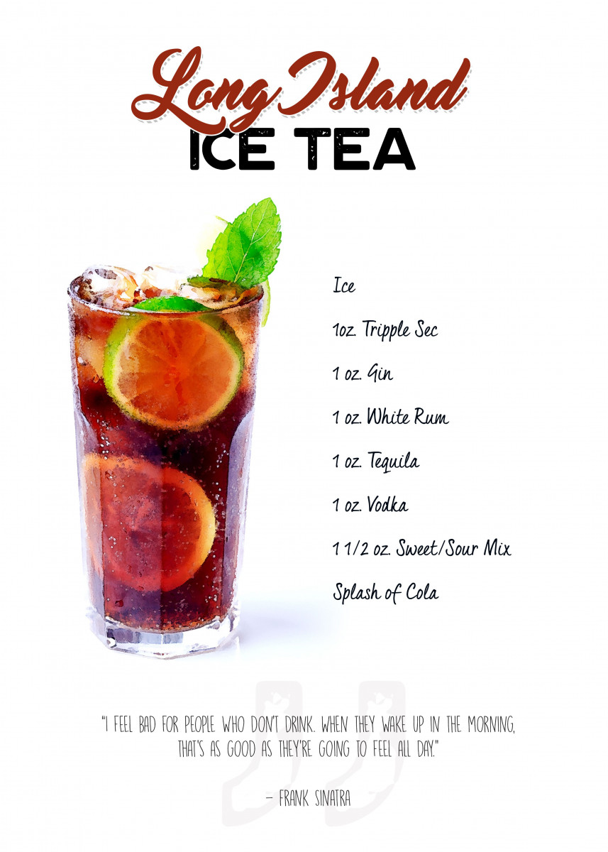 Cocktail long island ice tea with the ingredient list for Cocktail long island