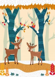 animal winter fawn landscape nature forest snow bird birds deer floral scenery yellow blue red orange texture detail