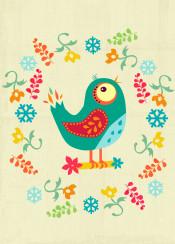 animal bird floral winter snow cute illustration kids nursery yellow green blue birds pink teal grunge vintage