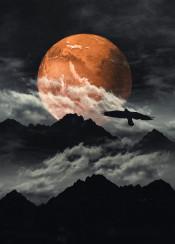 black clouds planet bird surreal mountains photomanipulation mood orange mars