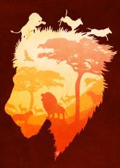 dverissimo animal royal noble lion lioness wild savannah silhouette illustration digitalart trees desert africa cat kitten king queen fantasy red soul heart