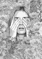 lineart graphicdesign digitaldrawing sketch nature landscape flowers figurativeart women garden wilderness blackandwhite