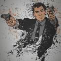 """""""Danger Zone"""" Splatter effect artwork inspired by the TV show Archer."""
