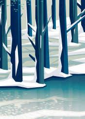 ice frozen trees winter spring snow